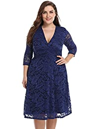 57fd334a2e294 Blivener Women's Plus Size Lace Bridal Skater Wedding Party Mother Dress