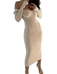 Longra Abito a Maniche Lunghe con Scollo a V da Donna Abito in Maglia  Vestito Sexy da Spalla Vestito Aderente Abito… 8816432695a
