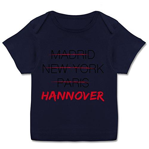 Städte & Länder Baby - Weltstadt Hannover - 56-62 (2/3 Monate) - Navy Blau - E110B - Kurzarm Baby-Shirt für Jungen und Mädchen