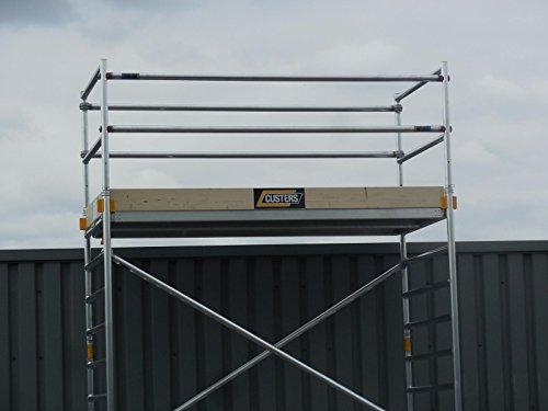 CUSTERS Corona 70-180 Alu-Rollgerüst, Fahrgerüst von 4,30 m bis 14,00 m Arbeitshöhe, TÜV/GS, DIN EN 1004 & 1298, Plattformlänge 180 cm, Profi (13,30 m)