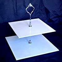 2Tier manico Alzata per torte quadrata color argento bianco 19cm & 23cm
