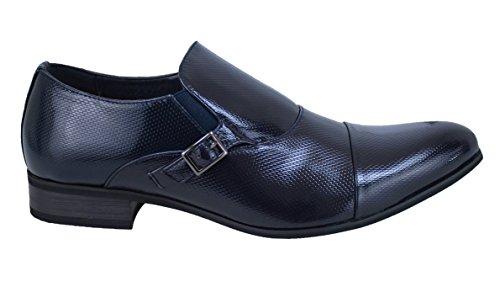 Scarpe uomo class eleganti blu lucido vernice nuove da cerimonia (43)