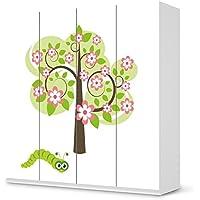 Designfolie IKEA Pax Schrank 201 cm Höhe - 4 Türen selbstklebend Design Blooming Tree (Kids) Dekofolie Selbstklebefolie Kleiderschrank Kinderzimmer preisvergleich bei kinderzimmerdekopreise.eu
