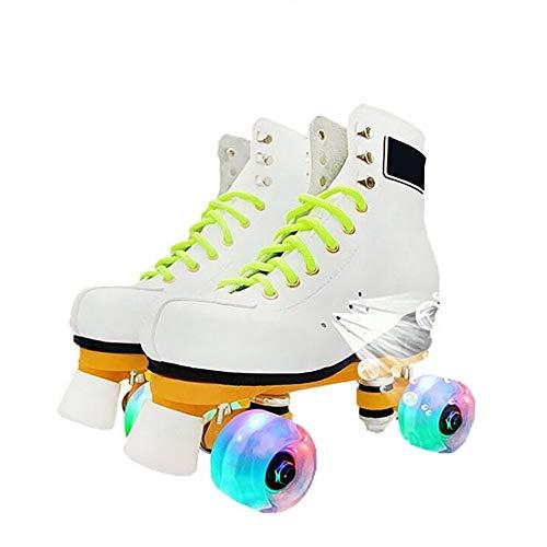CHHBOXCHH Jugend Rollschuhe,Retro Rollschuhe,Kinder Quad Skate,Skates verstellbar mädchen,Mehrere Größen,Geeignet für Erwachsene, Kinder,White-45