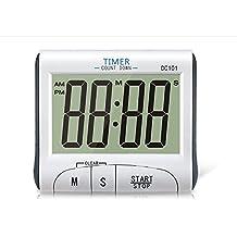 TopSun Temporizador de cocina digital Pantalla grande Cuenta atrás digital electrónica y contar hasta alarma magnética de alarma Cronómetro de la cocina Cronómetro de reloj digital de 24 horas