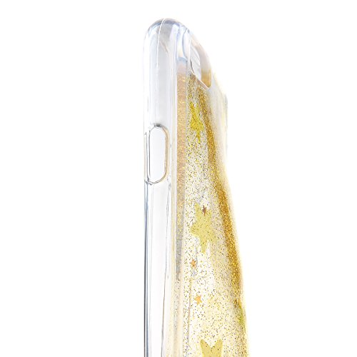 iPhone 6S plus Hülle,iPhone 6S plus Transparent Hülle, Felfy Apple iPhone 6/6S plus Ultra Slim Durchsichtig Schneeflocke Weihnachten Christmas Serie Muster Soft Flexible Weich TPU Silikon Schutzhülle  Gelb Glitter
