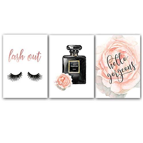 wymhzp 3 Stück Rosa Blume Parfüm Poster und Drucke Mode Leinwand Malerei Bilden Blume Wandbilder für Wohnzimmer Poster Decor 50x70 cm Kein Gestaltet -