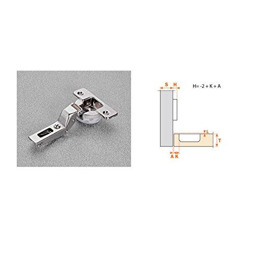 Bisagra Superacodada cierre decelerante (Amortiguado) de cazoleta Ø35 mm. Apertura 110º Incluye su base regulable