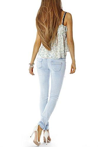 Bestyledberlin Damen Jeans Hose Hüftjeans Skinny Röhrenjeans Jeanshose röhre zerrissenes Knie j18ab Hellblau