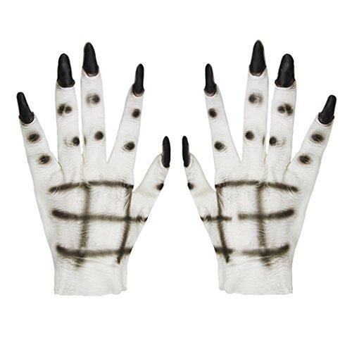 Unisex Halloween Kostüm Cosplay Ghost Handschuhe Fancy Dress Kostüm Zubehör Weiß Horror Scary Cosplay Requisiten Masquerade (Handschuhe Wolf Super Erwachsenen)