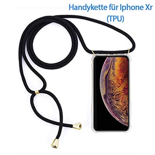 Blfde Handykette Kompatibel mit iPhone Xr,Praktische Fashion Hülle Wasserfest Weiß Transparent Schutzhülle mit Verstellbar,Einfach Reinigend Band,Handykette zum Umhängen iPhone Xr Schwarz (TPU) -