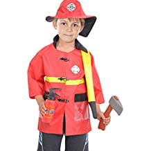 NiSeng Disfraz de Bombero niño Carnaval Cosplay Disfraces Halloween Fancy Dress infantil juego de rol