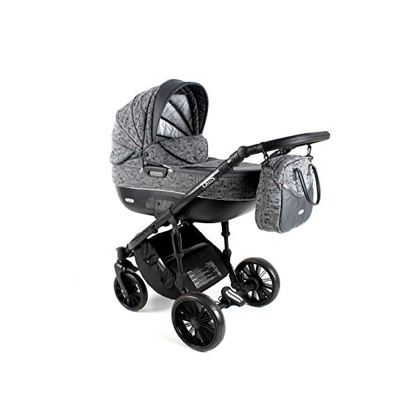 Lux4Kids Pram Stroller 3in1 2in1 Isofix Colour Selection Buggy Car seat BOL Black Square OB-07 4in1 car seat +Isofix Lux4Kids Lux4Kids Bol 3in1 or 2in1 pushchair. You have the choice whether you need a car seat (baby seat certified according to ECE R 44/04 or not). Of course the car is robust, safe and durable Certificate EN 1888:2004, you can also choose our Bol with Isofix. The baby bath has not only ventilation windows for the summer but also a weather footmuff and a lockable rocker function. The push handle adapts to your size and not vice versa, the entire frame is made of a special aluminium alloy with a patented folding mechanism. 1