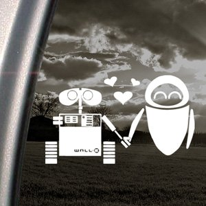 Image of DISNEY Decal WALL E EVE ROBOT LOVE Window Sticker