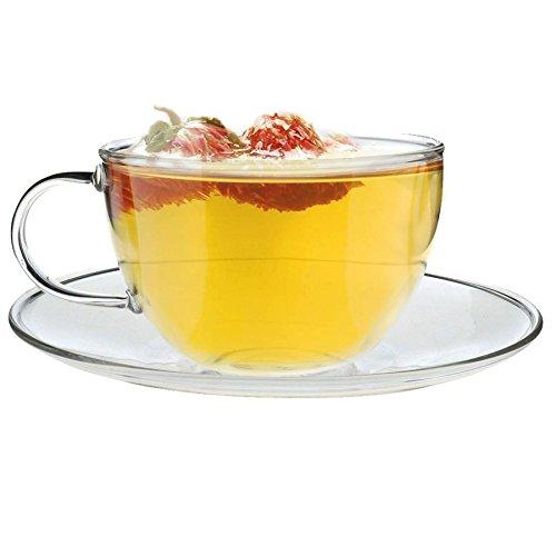 Tasse et sous-tasse en verre - pour cappuccino/thé/café - transparent - 260 ml - lot de 1