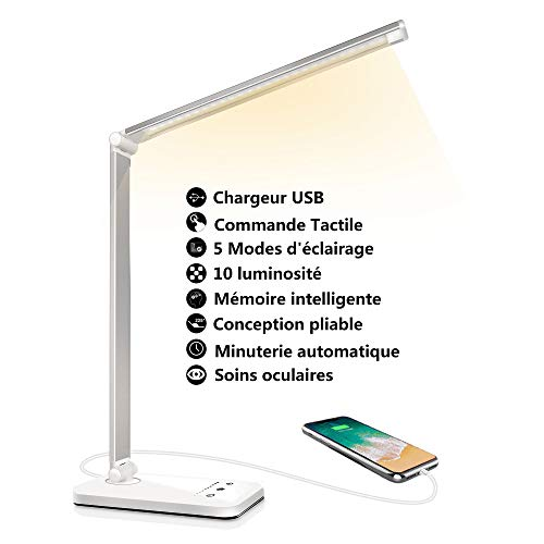 Lampe de Bureau LED,Dimmable 5 Modes de Couleur 10 Niveaux de Luminosité, Flexible Contrôle Tactile Protection des Yeux Lampe de Table,Avec Port USB et Fonction Minuterie Lampe de Lecture
