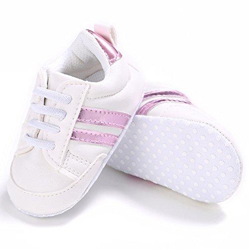 Nicholco, Scarpe primi passi bambini White + Silver Edge 6-12M White + Pink Edge