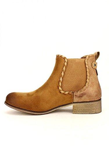 Cendriyon, Bottine Camel Peau Cuir GLORY Chaussures Femme Caramel