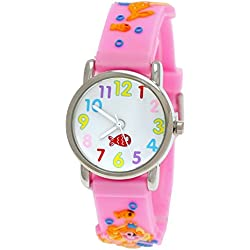 Cute Pure Time 3D Children's Watch Girls Silicone Watch With Mermaid Design Pink With Watch Box