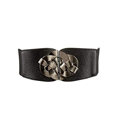 Y-WEIFENG Frauen-Leder-Taillen-Gurt-weibliches Smokinghemd-strickende Hardware-breiter Gurt ` (Farbe : Schwarz) - Edelmetall-ton