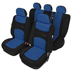 ZentimeX Z925843 Sitzbezüge Vordersitze + Rückbank Stoff blau / schwarz Airbag-Kompatibel