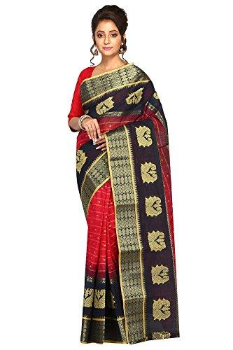 Badal Textile Handloom Ekkot Cotton Saree, Traditional Bengali Wear (Red & Navy...