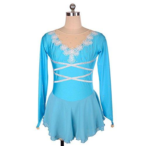 Heart&M Eiskunstlauf-Kleid-Frauen-Mädchen Eislauf-Performance-Wettbewerb Kostüm Blume Spandex Handmade Strass Skating tragen lange Ärmel Blau , M