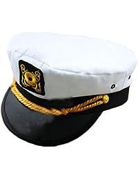 EJY Unisex Casquette de Capitaine, Blanc Yacht Chapeau, Sailor Bateau Cap Hat
