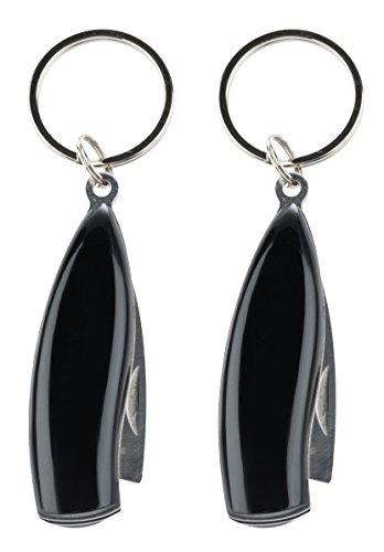 munkees 2 x Klappmesser IV, Schlüsselanhänger, Taschenmesser, Edelstahl, Schwarz, Doppelpack, 2526 -
