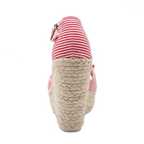 Adee Damen Streifen Bögen Stoff Sandalen Rot