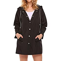 Lomon Chaqueta Ligera para Mujer Gabardina de Viaje para Lluvia Abrigo Impermeable con Capucha para el Viento Abrigo Plegable Chaqueta para Lluvia.
