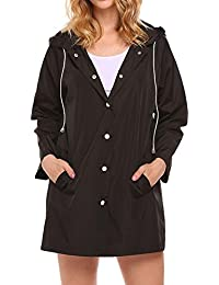 lomon Chubasquero de Mujer Chaqueta Impermeable Gabardina Resistente al Viento con Capucha Abrigo
