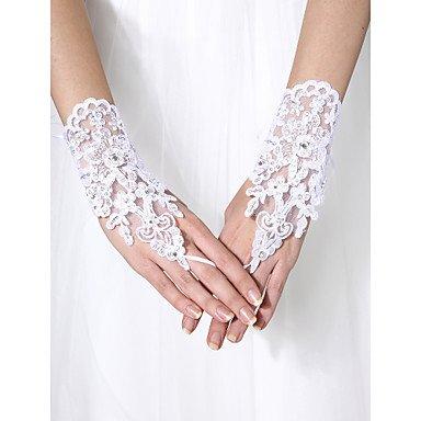 Yu* Handgelenk-Länge Ohne Finger Handschuh Tüll Brauthandschuhe Perlstickerei