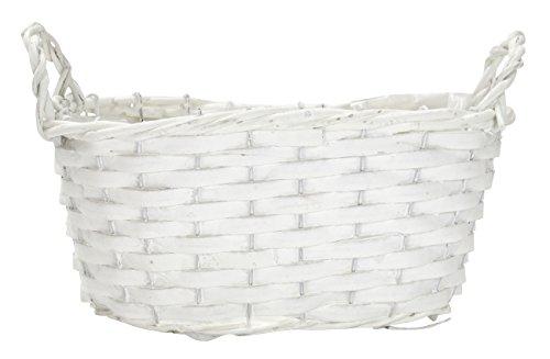 Weide-Korb mit Henkeln und Einsatz weiß 1 Stück - groß