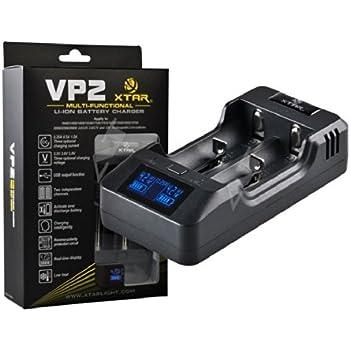 Xtar VP2 Chargeur intelligent CCCV Li-Ion et LiFePo4 avec 2 baies de chargement, 3 niveaux de courant et de tension de charge