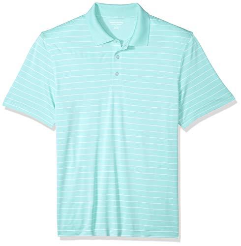 Amazon Essentials Regular-Fit Quick-Dry Stripe Golf Polo Shirt Poloshirt Herren, Aqua, US L (EU L) - Dry Golf Polo
