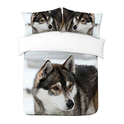 Adam Home 3D Digital Printing Bett Leinen Bettwäsche-Set Bettbezug + 2x Kissenbezug - Wolf (Alle Größen)