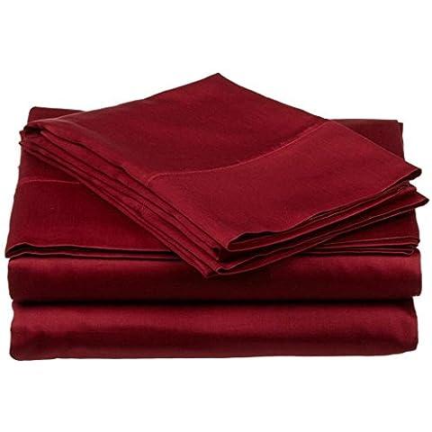 700hilos 4piezas Juego de sábanas (Borgoña sólido, Reino Unido pequeña sola larga (2Ft 6