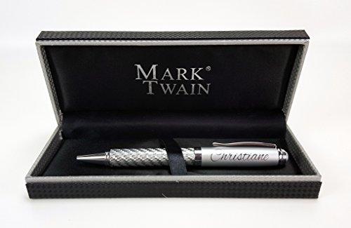 Mark Twain Kugelschreiber in Carbonoptik mit Gravur und dazugehöriger Box mit Name oder Wuschtext graviert als Geschenk oder zu besonderen Anlässen