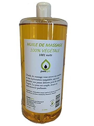 Huile de MASSAGE MODELAGE 100% végétale senteur 1001 NUITS, 1 LITRE, Offre découverte