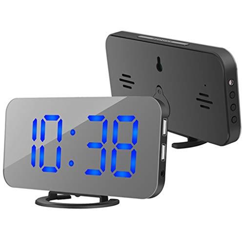 LIVOO R/éveil num/érique en Bois Fonction r/éveil Affichage de la temp/érature Affichage de la Date c/âble USB, Horloge de Table, Fonctionnement sur Piles, Mode de Commande sonore, Noir