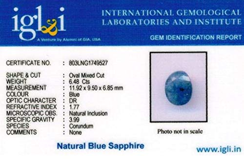Zonarwood® Blue Sapphire Neelam 6.25 Ratti 5.75 Carat with Lab Tested Certified Super Quality Gem Stone untreated Unheated Natural Nilam Gemstone