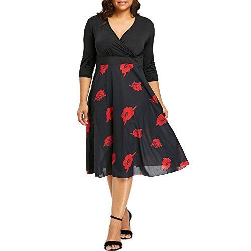 Streetwear Kleid VENMO Damen Festliche elegant Kleid Plus Size Damen Knielang Retro V-Ausschnitt Höhe Taille (XXL, Black a) (Rote Hochzeits Kleider Plus Größe)