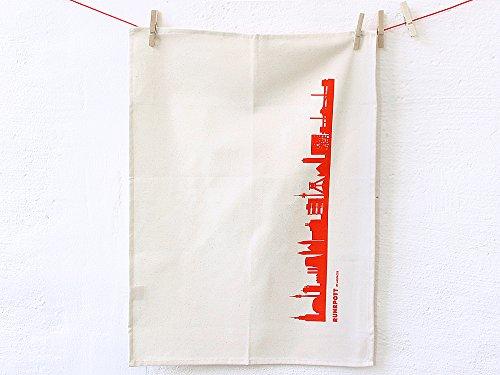 Torchon en coton biologique - Couleurs assorties - City Towel de la Ruhr (44spaces rouge