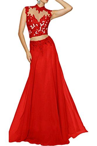 La_mia Braut Damen Chiffon Zwei-teilig Spitze Abendkleider Ballkleider Abschlussballkleider A-linie Rock Rot
