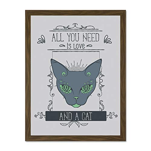 Doppelganger33 LTD Quote Word Art Typography Motivation Cat Love All You Need Large Framed Art Print Poster Wall Decor 18x24 inch Supplied Ready to Hang