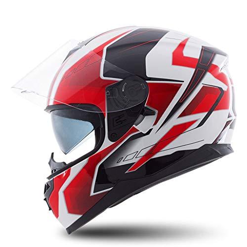 NJ Helm- Elektro-Motorradhelm, Full-Cover-Unisex-Helm, zweischichtiger Regen- und UV-Schutzhelm (Color : A, Size : XXL)