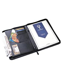 Collins Dossier de présentation/organiseur/étui en cuir avec fermeture Éclair/espace pour cartes de visite/support pour stylo Noir A4
