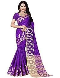 FAB BRAND Self Design Cotton Silk Purple Color Saree For Women With Blouse Piece