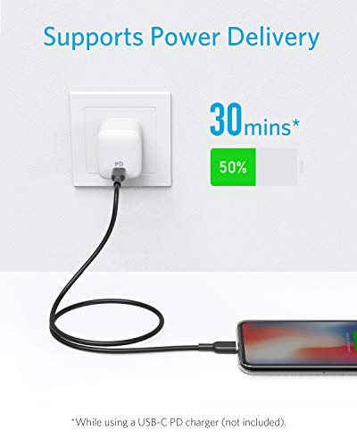 Anker Cable USB C a Lightning [0, 9 m,  certificación MFi de Apple] Powerline II para iPhone X/XS/XR/XS MAX / 8/8 Plus,  Compatible con Power Delivery (para Usar con Cargadores Tipo C)